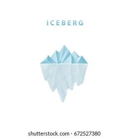 Polygonal iceberg in flat style. Iceberg icon. Vector illustration.