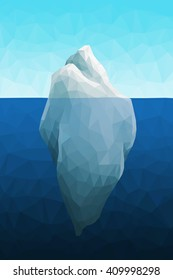 Polygonal iceberg in the sea. Low poly design. Polygon background.