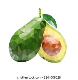 Polygonal illustration of avocado