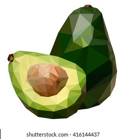 Polygonal illustration of avocado