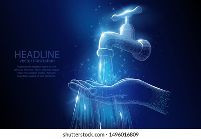 Polygonal illustration concept of a water tap and hand on a deep blue background, a symbol of ecology, and environmental protection, respect for water resources.