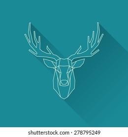 polygonal illustration of deer, wire frame invert