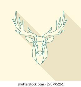 polygonal illustration of deer, wire frame