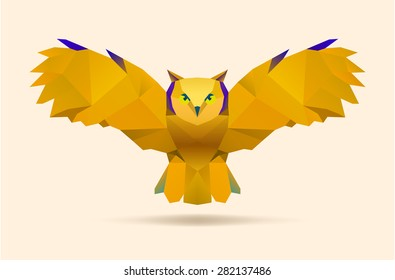 polygonal illustration of flying owl, vector