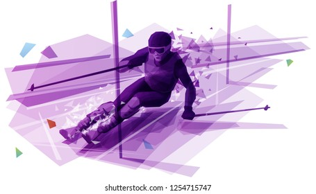 Polygonal illustration of man slalom skiing