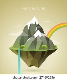 polygonal illustration of mountains with snow on the top, clouds, trees, waterfall and rainbow on island