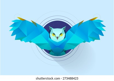 polygonal illustration of owl in circle