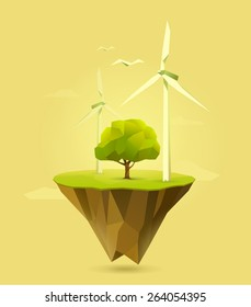 polygonal illustration of wind power