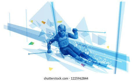 Polygonal illustration of woman slalom skiing