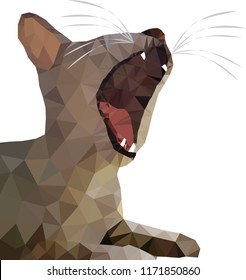 Polygonal illustration of a yawning cat , sleepy cat, grey big cat, funny cat in siesta time, relaxing , curious , with open mouth