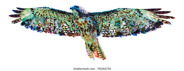 Polygonal image of a falcon on a white background. Made in low poly technique