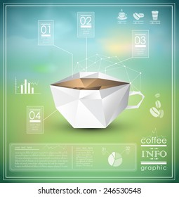 Polygonal infographic of a cup of coffee, icons, charts and info graphic elements, EPS 10