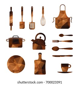 Polygonal Kitchen utensils and appliance icons set. Geometric brown dishes