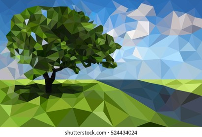 Polygonal landscape background with tree and river. Low poly design vector illustration.