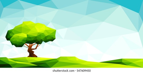 Polygonal landscape with lawn and a big tree-Vector Illustration