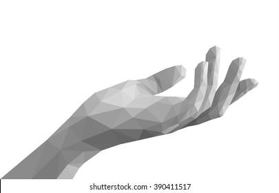 polygonal left hand open empty monochrome