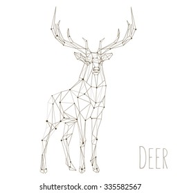 Polygonal lines illustration with text Christmas is coming. Abstract vector Deer on the white background