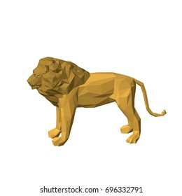 Polygonal lion. Isolated on white background.3D Vector illustration.