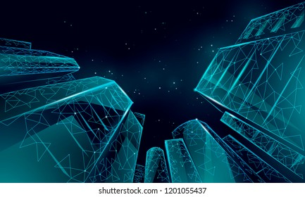 Polygonal low angle business modern glass buildings. Skyscrapers high rise reach sky city scenery. Finance banking futuristic office concept. Gigantic smart house from below vector illustration
