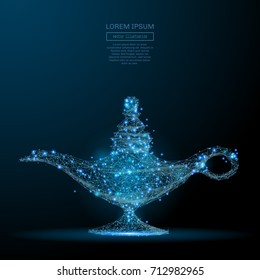 Polygonal magic lamp isolated on dark background. Low poly vector illustration of a starry sky or Cosmos. Digital images consists of lines, dots and destruct shapes.