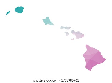 Polygonal map of Hawaii. Geometric illustration of the island in emerald amethyst colors. Hawaii map in low poly style. Technology, internet, network concept. Vector illustration.