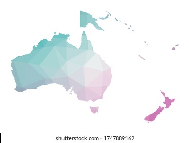 Polygonal map of Oceania. Geometric illustration of the continent in emerald amethyst colors. Oceania map in low poly style. Technology, internet, network concept. Vector illustration.