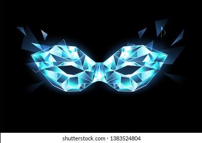 Polygonal mask of blue, transparent, sparkling ice on black background.