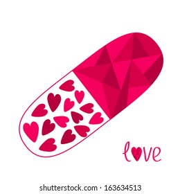 Polygonal medical pill with hearts inside. Love card. Vector illustration.