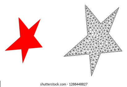 Polygonal mesh asymmetrical star and flat icon are isolated on a white background. Abstract black mesh lines, triangles and dots forms asymmetrical star icon.