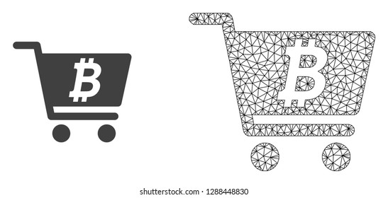 Polygonal mesh bitcoin webshop and flat icon are isolated on a white background. Abstract black mesh lines, triangles and dots forms bitcoin webshop icon.