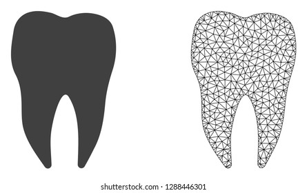 Polygonal mesh dental tooth and flat icon are isolated on a white background. Abstract black mesh lines, triangles and dots forms dental tooth icon.