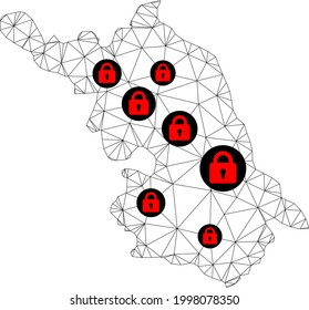 Polygonal mesh lockdown Map of Jiangsu Province. Abstract mesh lines and locks form Map of Jiangsu Province. Vector wire frame 2D polygonal line network in black color with red locks.