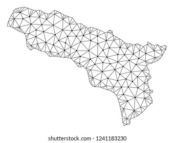 Polygonal mesh map of Abkhazia in black color. Abstract mesh lines, triangles and points with map of Abkhazia. Wire frame 2D polygonal line network in vector format.