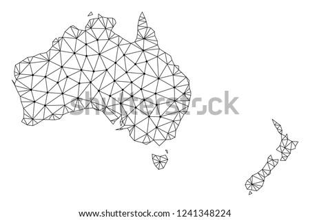 Map Australia And New Zealand.Polygonal Mesh Map Australia New Zealand Stock Vector Royalty Free