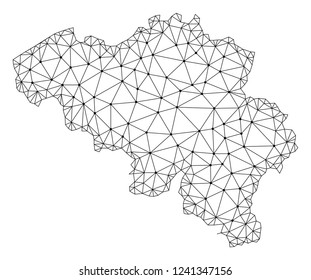 Polygonal mesh map of Belgium in black color. Abstract mesh lines, triangles and points with map of Belgium. Wire frame 2D polygonal line network in vector format. Carcass model for political posters.