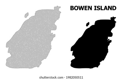 Polygonal mesh map of Bowen Island in high detail resolution. Mesh lines, triangles and dots form map of Bowen Island.