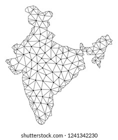 Polygonal mesh map of India in black color. Abstract mesh lines, triangles and points with map of India. Wire frame 2D polygonal line network in vector format. Carcass model for patriotic purposes.