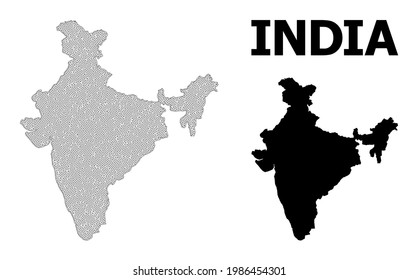 Polygonal mesh map of India in high detail resolution. Mesh lines, triangles and dots form map of India. High detail wire frame carcass polygonal line network in vector format on a white background.