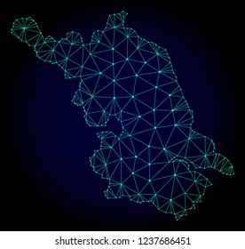 Polygonal mesh Map of Jiangsu Province. Abstract mesh lines, triangles and points on dark background with Map of Jiangsu Province.