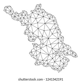 Polygonal mesh Map of Jiangsu Province in black color. Abstract mesh lines, triangles and points with Map of Jiangsu Province. Wire frame 2D polygonal line network in vector format.