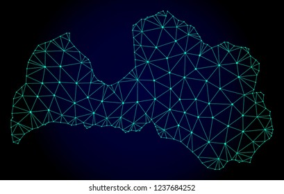 Polygonal mesh map of Latvia. Abstract mesh lines, triangles and points on dark background with map of Latvia. Wire frame 2D polygonal line network in vector format on a dark blue background.