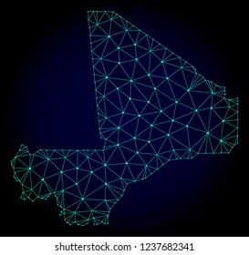 Polygonal mesh map of Mali. Abstract mesh lines, triangles and points on dark background with map of Mali. Wire frame 2D polygonal line network in vector format on a dark blue background.