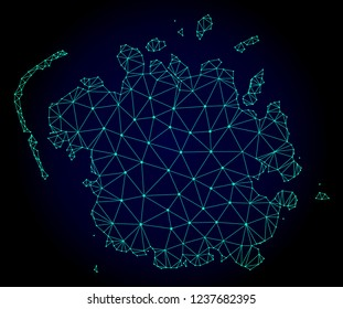 Polygonal mesh map of Micronesia island. Abstract mesh lines, triangles and points on dark background with map of Micronesia island.