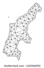 Polygonal mesh map of Saipan Island in black color. Abstract mesh lines, triangles and points with map of Saipan Island. Wire frame 2D polygonal line network in vector format.