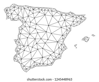 Polygonal mesh map of Spain in black color. Abstract mesh lines, triangles and points with map of Spain. Wire frame 2D polygonal line network in vector format. Carcass model for political purposes.