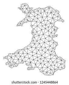 Polygonal mesh map of Wales in black color. Abstract mesh lines, triangles and points with map of Wales. Wire frame 2D polygonal line network in vector format. Carcass model for patriotic purposes.