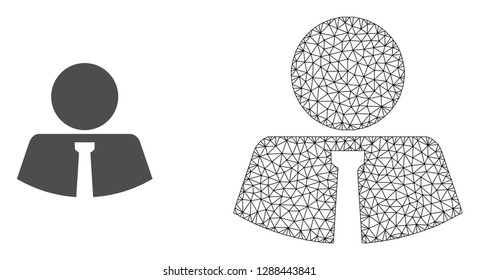 Polygonal mesh mister and flat icon are isolated on a white background. Abstract black mesh lines, triangles and nodes forms mister icon.