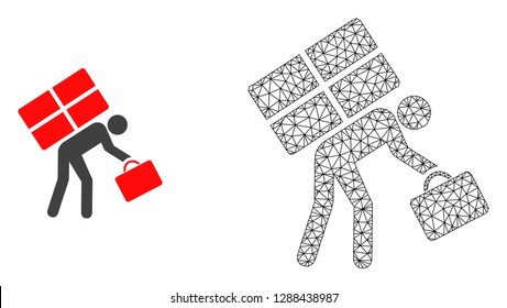Polygonal mesh refugee persona and flat icon are isolated on a white background. Abstract black mesh lines, triangles and dots forms refugee persona icon.