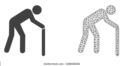 Polygonal mesh retired persona and flat icon are isolated on a white background. Abstract black mesh lines, triangles and dots forms retired persona icon.