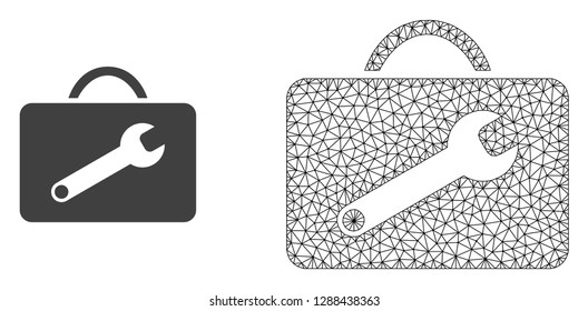Polygonal mesh service toolkit and flat icon are isolated on a white background. Abstract black mesh lines, triangles and dots forms service toolkit icon.